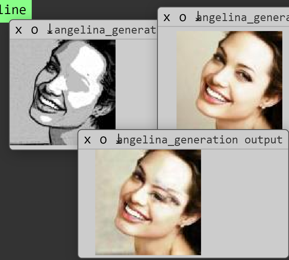 Figure 2d. Another view of the training process, showing duplicated and out of place eyes in the intermediate output image.