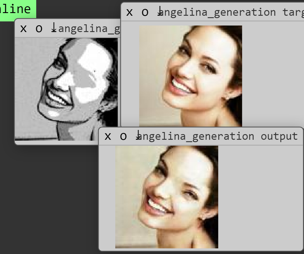 Figure 2c. One view of the training process, showing the an out-of-place eye in the intermediate output image